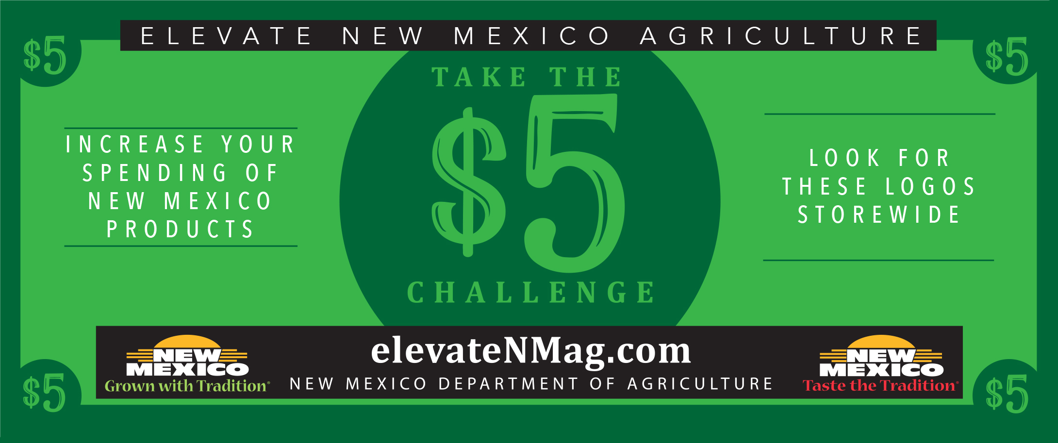 elevate new mexico agriculture, take the five dollar challenge